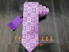 """TED BAKER Silk Tie GN09 Standard 3"""" Tip Pink Pattern Fancy Woven Long Ties BNWT"""
