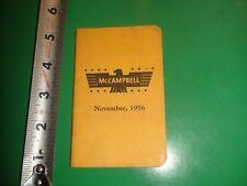 JB396 Vintage 1956 Calendar Memo Book Ad McCampbell Carnival Cottons