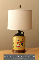 MID CENTURY DANISH JUG TABLE LAMP! VTG 50'S MODERN HANDPAINTED DENMARK JUG RETRO