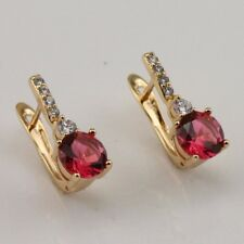 Gallant Red Ruby Fashion Jewelry Gift Yellow Gold Filled Huggie Earrings er1287