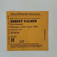 Robert Palmer - Apollo Theatre Manchester June 22 1981 concert ticket stub