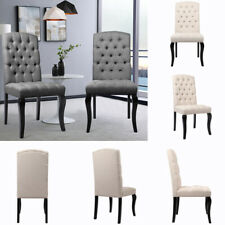 Linen/Velvet Fabric Gallery Direct Button Back Padded Dining Chair A Pair / 4Pcs