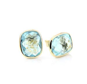 14K Yellow Gold Studs With Cushion Cut Blue Topaz Gemstones