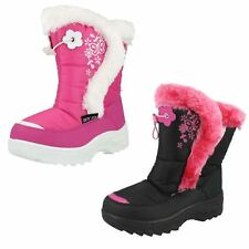 Girls Snowfun Winter Snow Boots With Fluffy Trim Floral butterfly