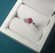 RUBY RING SIZE M 1/2 STERLING SOLID SILVER RAISED