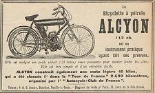 Y8244 Biciylette a pétrole ALCYON - Pubblicità d'epoca - 1907 Old advertising
