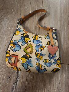 Dooney & Bourke Bumble Bee Mini Purse Leather Trim Rainbow Zip Itsy Bitsy Bag