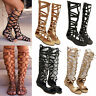Women Chic Gladiator Knee High Cut Out Sandals Flat Strappy Boots Open Toe Shoes
