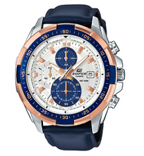 CASIO EDIFICE EFR539L-7C Chronograph Ion Plated Bezel Navy Leather Band 100m @