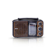 Geepas Retro Portable FM Radio Bluetooth USB & SD Card MP3 Player Rechargeable