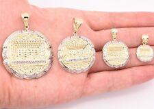 Mens Apostles Last Supper Charm Pendant Diamond Cut Real 10K Yellow White  Gold
