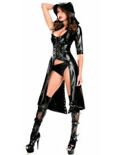 Sexy Black Faux Leather Hooded Halloween Gothic Punk Dress Costume Cape Size 10