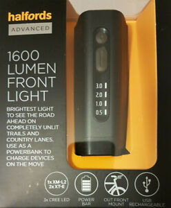 Halfords Advanced 1600 Lumen Front Bike Light - Black