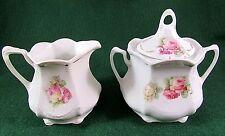 Vintage Bavaria Hand Painted Porcelain Sugar Creamer Wild Rose Gold Trim 3 Piece