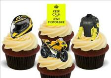 Yellow Motorbike Mix Stand Up Premium Card Cake Toppers