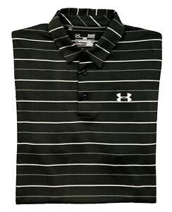 Under Armour 'Jordan Spieth' ColdBlack Polo Golf Shirt  Men S  Black Stripes
