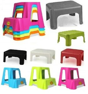 Dual Step Up Plastic Stool Children Kids Kitchen Toilet Potty Training Ladders