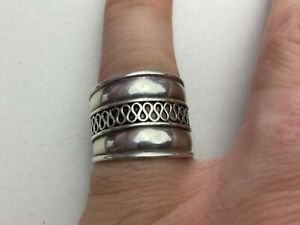 """SOLID SILVER """" Cuff  RING 925 Hall Marked Size UK """"R"""" Available Worldwide"""