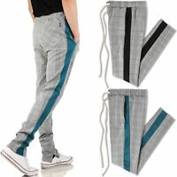 Mens Skinny Track Pants Light Plaid Stretch Casual Trouser Fashion Jogger