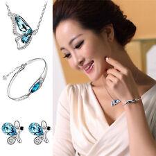 Fashion Women Jewelry Charm Butterfly Necklace + Earring+Bracelet Crystal Sets
