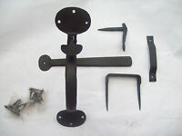 HAND FORGED BLACKSMITH ANTIQUE IRON RUSTIC COTTAGE SUFFOLK THUMB LATCH PENNY END