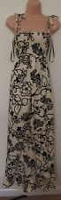 MELA LOVES LONDON FLORAL SUMMER RARE FLIPPY CREAM RUCHED LONG MAXI DRESS S M
