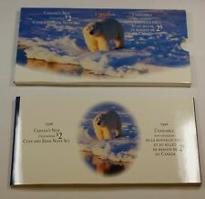 1996 Canada $2 Coin & Bank Note Set- Uncirculated $2 Note & Coin- w/Sleeve