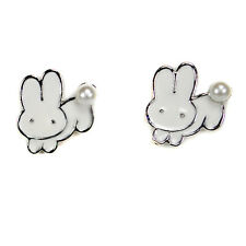 WHITE BUNNY EARRINGS Post Stud Pair Enamel Rabbit NEW Jewelry Gift Easter Pearl