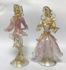 Vintage Murano Glass Aventurine Courtesan Figures Dancers Pink & White Latticino