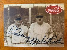 Babe Ruth Lou Gehrig Coca-Cola Advertising Baseball Card W/Facsimile Autographs!
