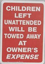 funny man cave sign plastic CHILDREN UNATTENDED TOWED business garage work shop