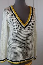 Minnie Rose Crochet Top M White Cotton Yellow Blue Trim V-Neck Long Sleeve $219