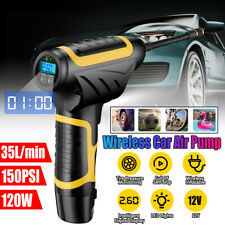 Portable Cordless Car Air Pump LED Light Tyre Inflator LCD Display 120W 150PSI