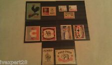 Old Matchbox labels lot of 11 different