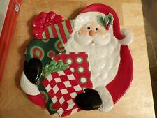 "Fitz & Floyd Santa Claus serving plate treats new orig box 8 1/2"" length 8"" wi"