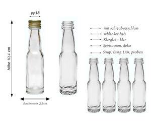40ml leere Mini Glasflaschen Schnaps Flasche kleine Miniaturflaschen Gold Silber