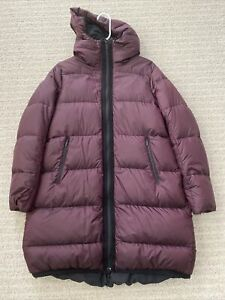 Lululemon Cloudscape jacket size 4 Dark Maroon Black Goose Down Long