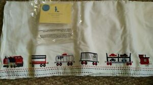 New Pottery Barn Kids TRAIN Railway Express SHEET +CribSkirt bedskirt embroidery