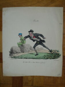 GRAVURE COULEUR CARICATURE COSTUME HOMME MODE PROVERBE ACCIDENT CHUTE  1820