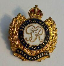 WW2 ROYAL ENGINEERS (RE) - BRASS & ENAMEL SWEETHEART BROOCH - KINGS CROWN
