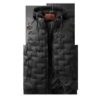 Men's Cotton Vest Quilted Waistcoat Warm Padded Sleeveless Jacket Hooded Winter