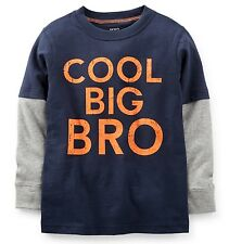 "NEW! ""COOL BIG BRO"" Boys Carters Graphic Brother Shirt 4 5 6 7 Gift ANNOUNCEMENT"