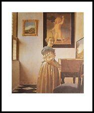 Jan Vermeer Young woman at Virginal Poster Kunstdruck mit Alu Rahmen 71x56cm