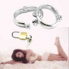 2PCS Extreme Bdsm Fetish SEX Handcuffs Unisex Steel Restraints Slave Cuffs +Lock