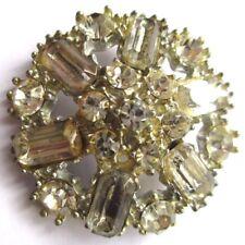 Ancien bouton bijou vintage couleur argent fleur en relief cristaux diamant 3223