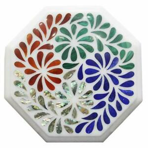 """12"""" Marble Table Top Pietra Dura Floral Handmade Inlay Work"""