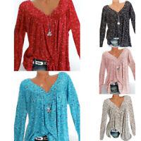 Womens Tops T-Shirt Boho Baggy Long Sleeve Blouse Ladies Loose Tunic Plus Size