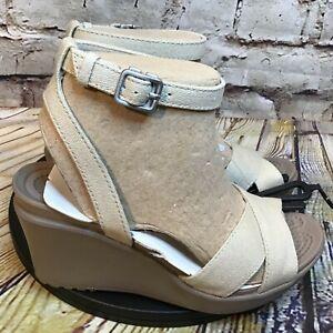 Crocs Womens Beige Canvas Cross Strap Ankle Buckle Wedge Sandals Size 4