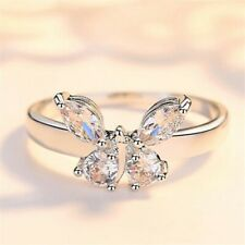 White Gold Plated Shining Crystal Zircon Butterfly Ring