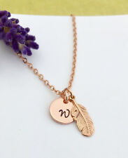 Personalised Rose Gold Initial Necklace Feather Charm Gift Box